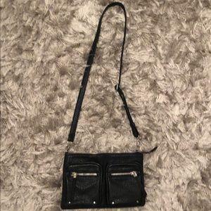 black crossbody bag with zippers